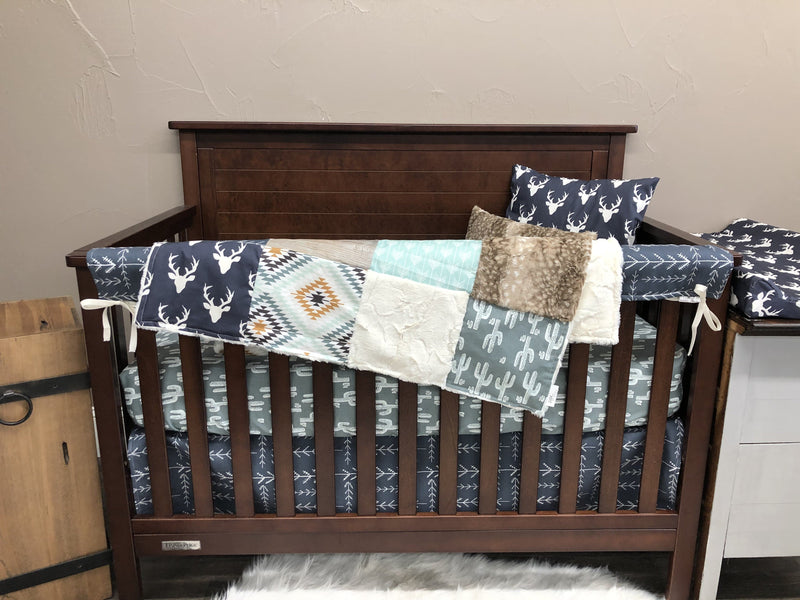 Ready to Ship Boy Crib Bedding - Buck, Aztec, Cactus, Arrows, Buck and Aztec Collection
