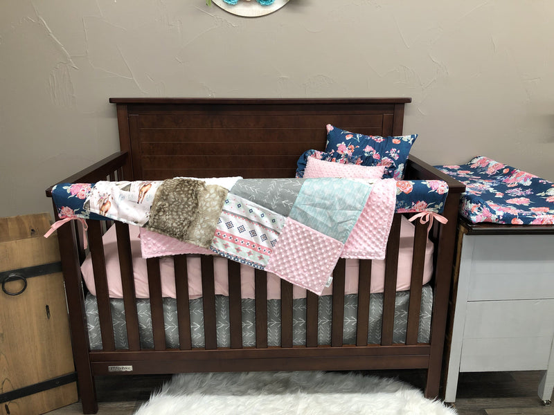Ready to Ship Girl Crib Bedding- Boho Horse, Floral, Aztec, Blush, Horse Collection
