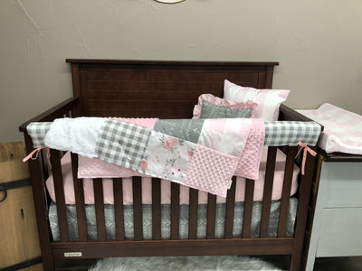 Custom Girl Crib Bedding- Watercolor Rose, Gray Tribal Arrow, Check, Watercolor Rose Collection