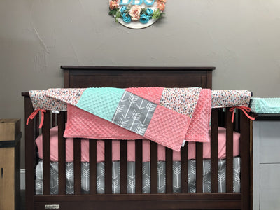 Ready to Ship Girl Crib Bedding- Gray Arrow, Mint, Feather, Coral, Arrow and Feather Collection