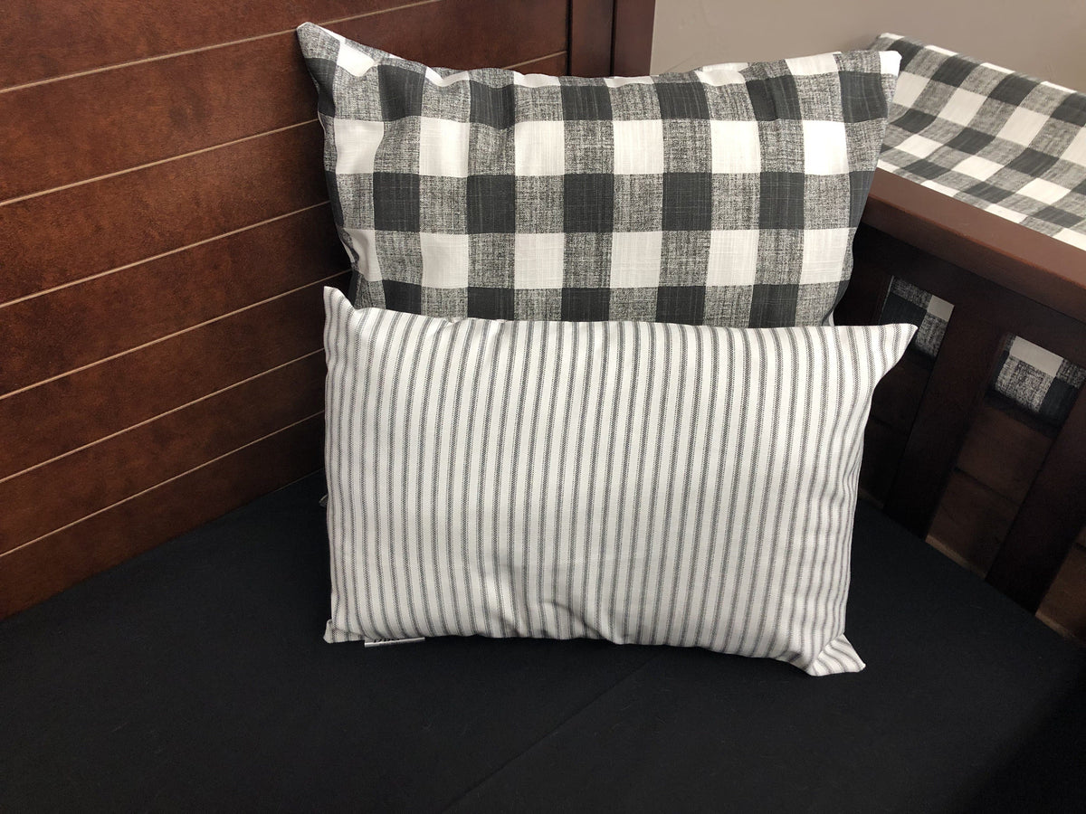 Ready to Ship Neutral Crib Bedding- Black Check, Black Ticking Stripe, Farmhouse Collection