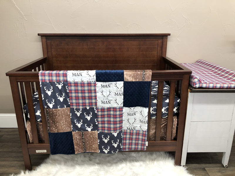 Custom Boy Crib Bedding - Little Man Antlers, Deer Skin, Navy Buck, Red Navy Plaid, Little Man Buck Collection