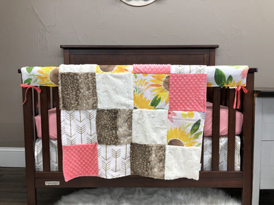 Custom Girl Crib Bedding - Sunflower, Gold Arrows, Ivory Crushed Minky, and Coral, Sunflower Collection