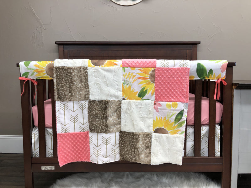Custom Girl Crib Bedding - Sunflower, Coral, Gold Arrows, Ivory Crushed, Sunflower Collection