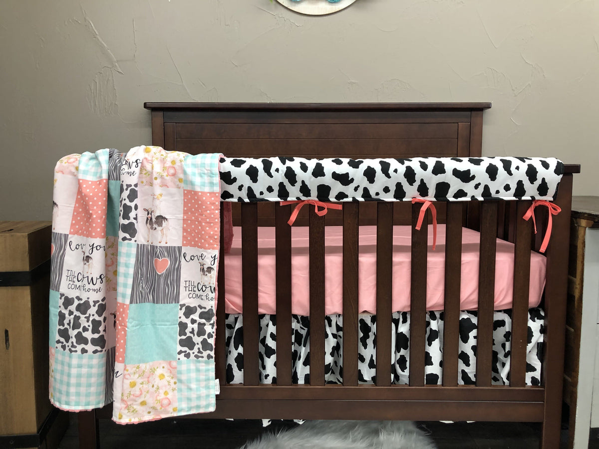 Custom Girl Crib Bedding - Cows Come Home, Cow print, coral, and mint, Girl Cow Crib Bedding