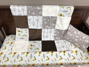 Custom Girl Crib Bedding-  Boho Sunflower, Tan Deers Arrows, Ivory, White Tan Arrow, Brown Minky, Boho Sunflower Crib Bedding