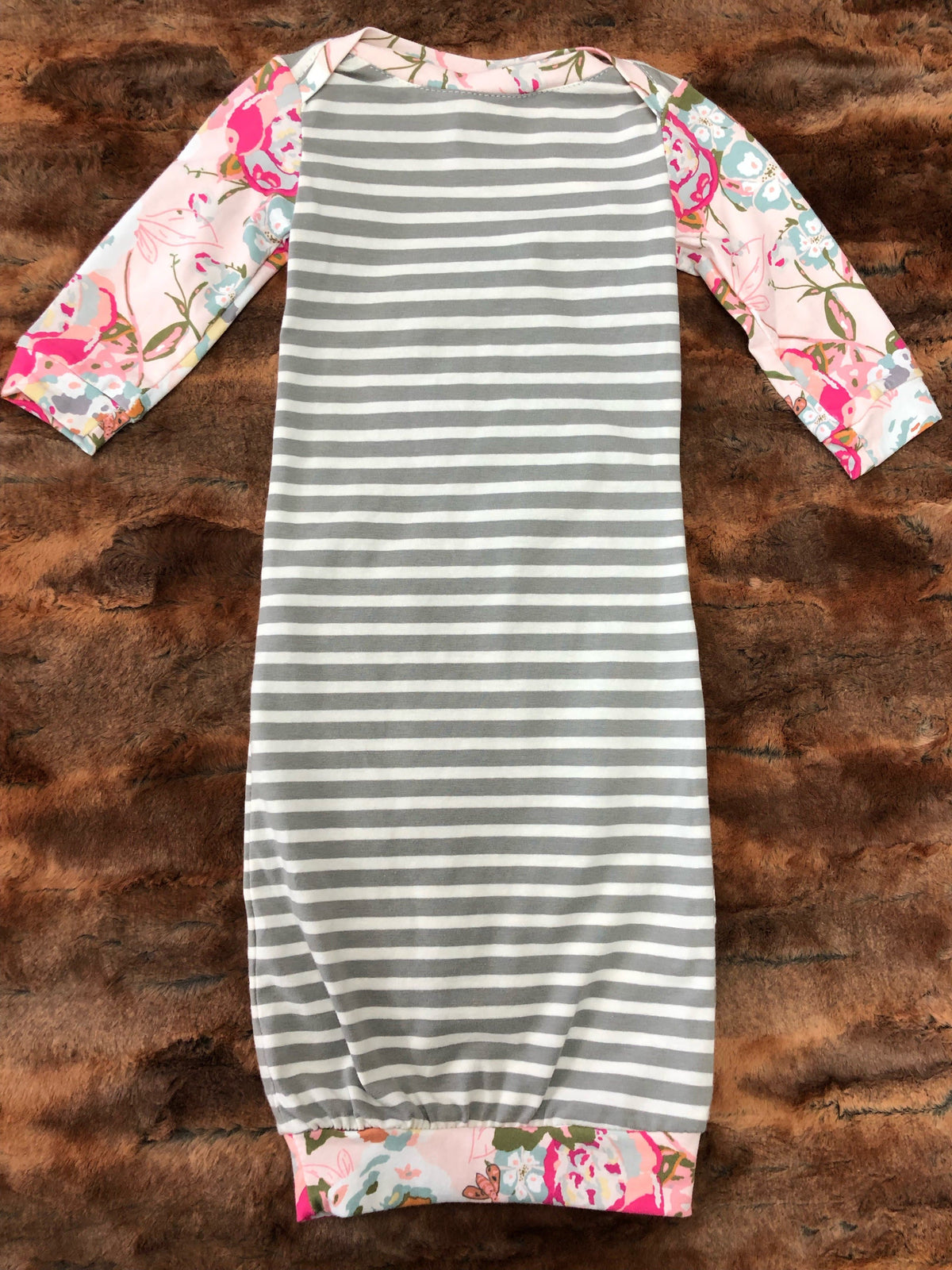 2 Day Ship - Baby Gown - Gray Stripe with Blush Floral Going Home Outfit