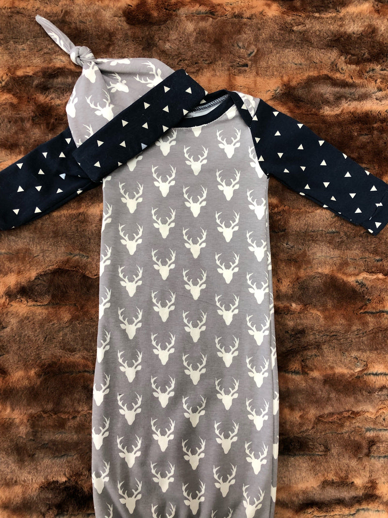 Baby Gown - Gray Buck with navy triangle Going Home Outfit