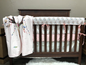 Custom Girl Crib Bedding  - Boho Antlers, Blush Dream Catchers, and Gold Arrow, Boho Collection