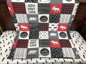 2 Week Ship- Boy Crib Bedding - Adventure Moose Bear, Black Arrow, Little Mountains, Adventure Crib Bedding