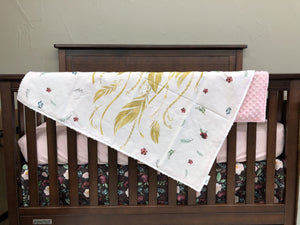 Custom Girl Crib Bedding- Dreamcatcher, Floral, and Blush Minky, Dreamcatcher Baby Bedding