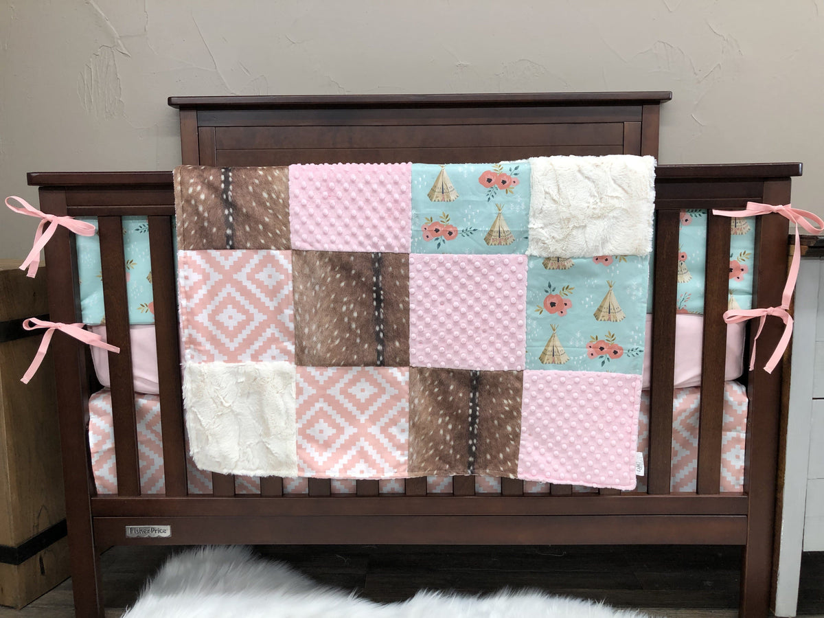 Custom Girl Crib Bedding Teepee Aztec Deer Skin Minky