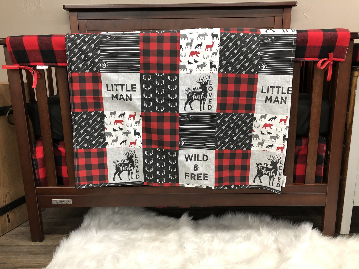 Ready to Ship Boy Crib Bedding - Little Man, Deerly Loved, Wild Free and Red Black Check, Little Man Nursery Collection