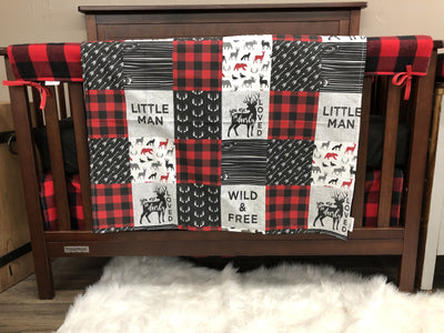Ready to Ship Baby Boy Crib Bedding - Little Man, Deerly Loved, Wild Free and Red Black Check, Deer Crib Bedding