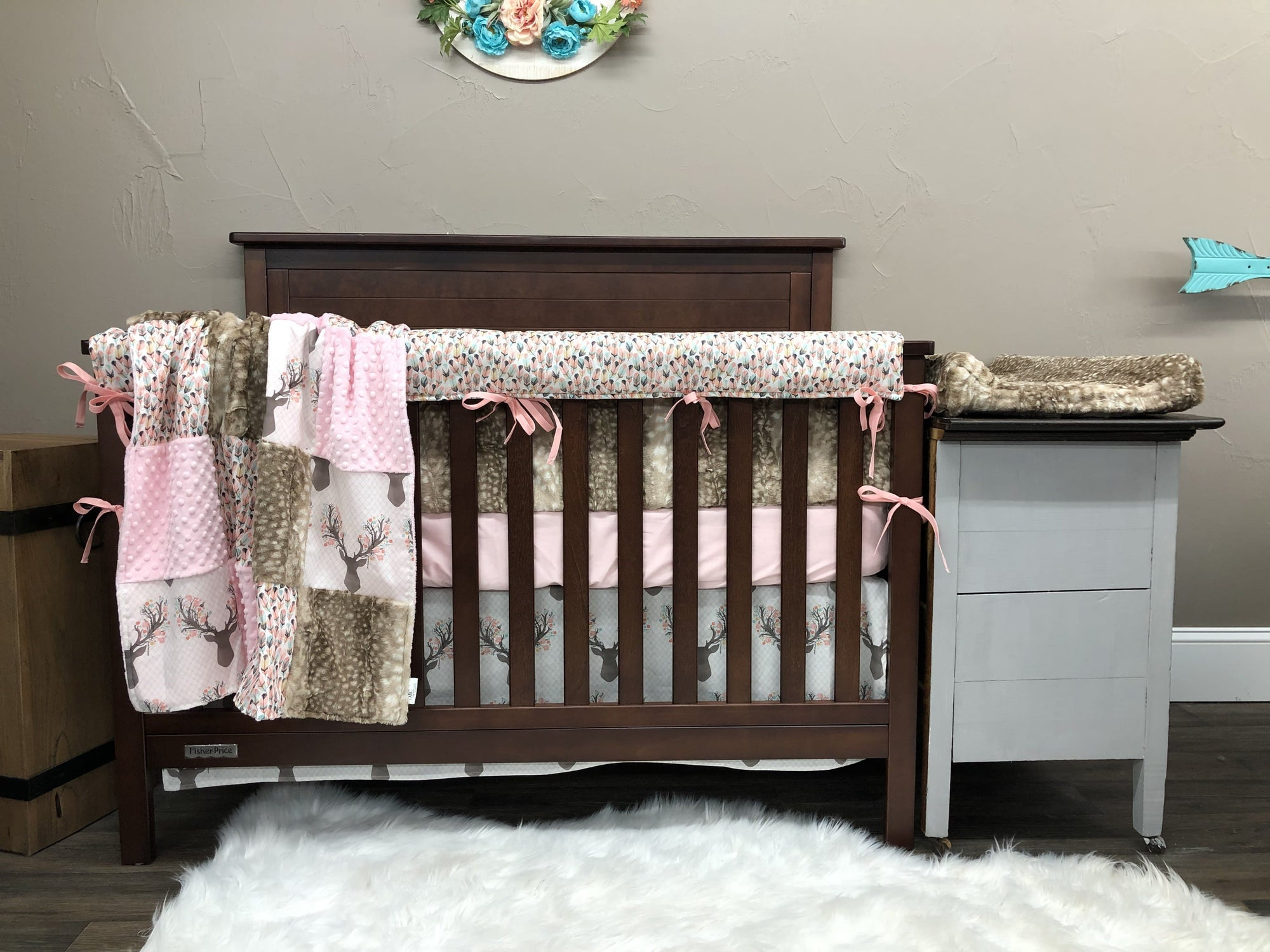 Custom Girl Crib Bedding - Deer, Feather, and Fawn Minky Woodland Collection