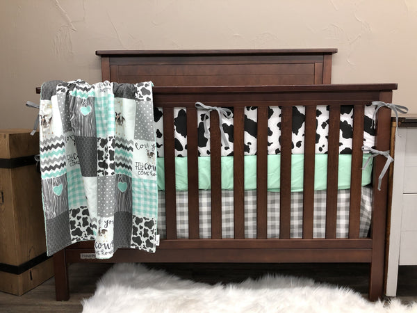Custom Neutral Crib Bedding Cows Come Home Mint And