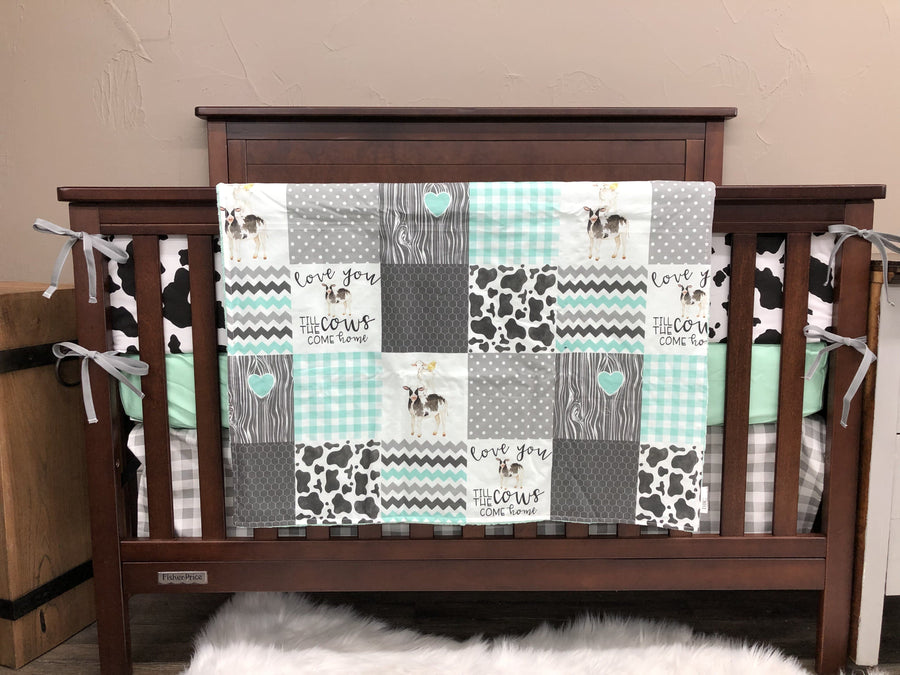 Custom Neutral Crib Bedding - Cows Come Home, mint, and gray check, Cows Come Home Farm Crib Bedding