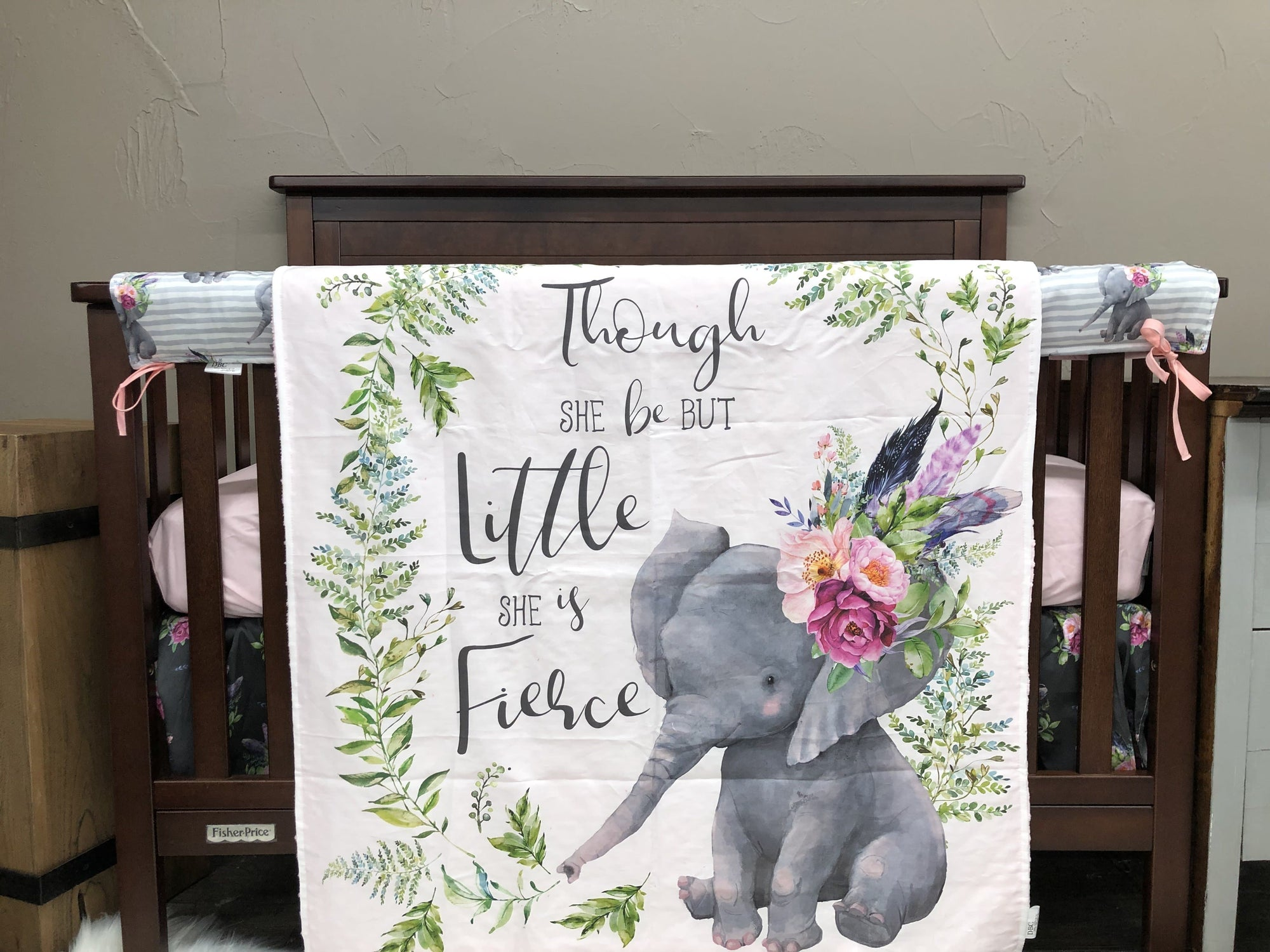 Custom Girl Crib Bedding - Floral Antlers, Fawn Minky, and Little Flowers, Floral Deer Nursery Collection