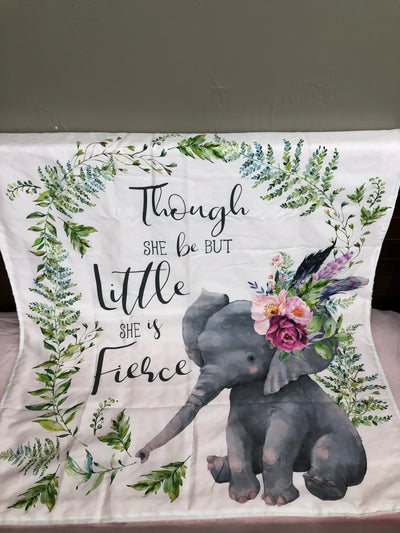 Custom Girl Crib Bedding - Elephant and Feather Collection
