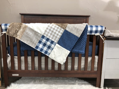 Quick Ship Boy Crib Bedding - Navy Check, Ivory, Ecru Tribal Arrow, Navy, Ecru Plaid, Fawn Minky, Farmhouse Collection