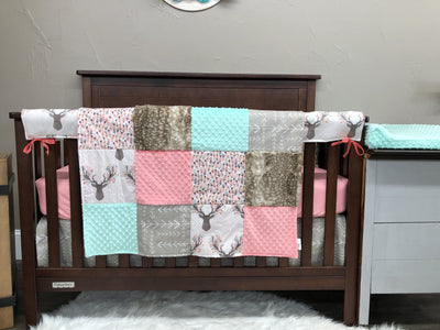 Custom Girl Crib Bedding - Tulip Fawn and Feathers Woodland Collection