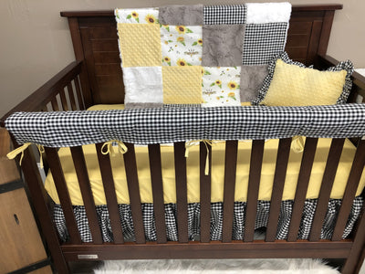 Custom Girl Crib Bedding - Sunflower, Black Check Sunflower Collection
