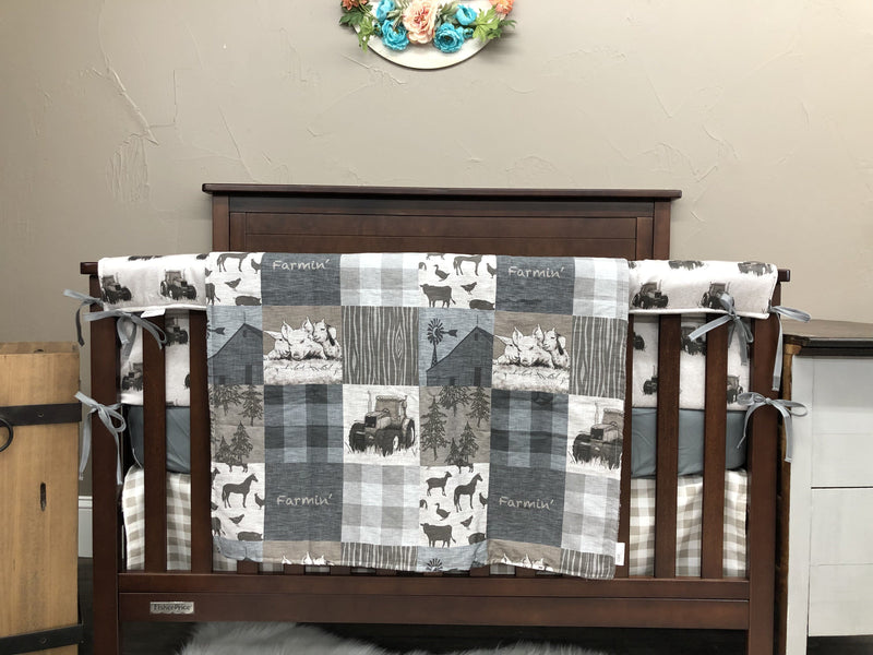 Custom Boy Crib Bedding- Farmin Tractor, Ecru Check, Gray Minky, Farm Crib Bedding
