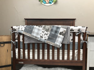 New Design Custom Boy Crib Bedding- Farmin Tractor, Ecru Check, Gray Minky, Farm Crib Bedding
