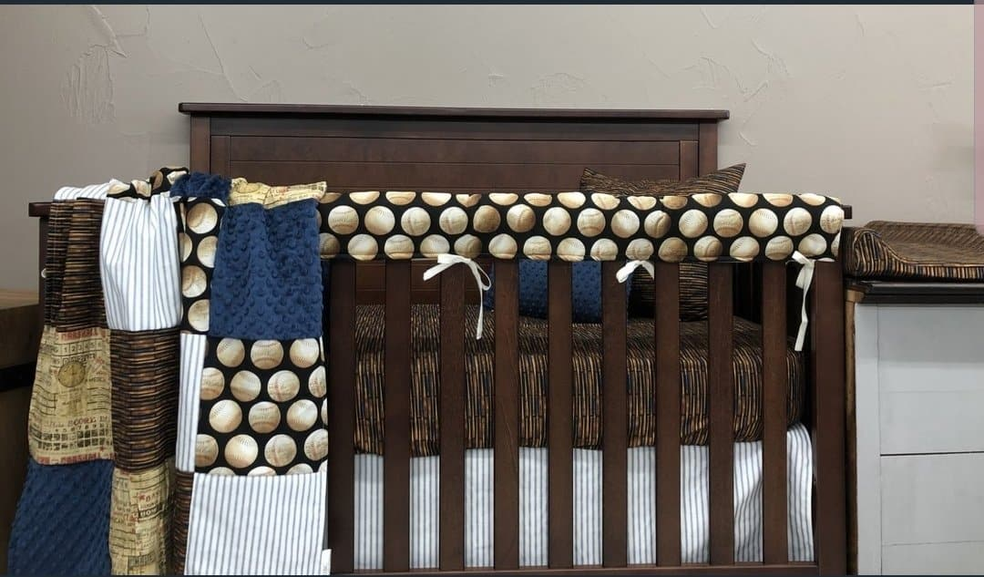 Ready to Ship Boy Crib Bedding- Vintage Baseballs, Bats, Mixed Players and Scoreboard, Vintage Baseball Collection