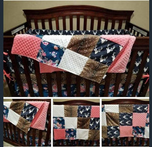 Custom Girl Crib Bedding - Navy Buck, Navy Coral Floral, Deer Skin Minky, Coral, and White, Woodland Nursery Set