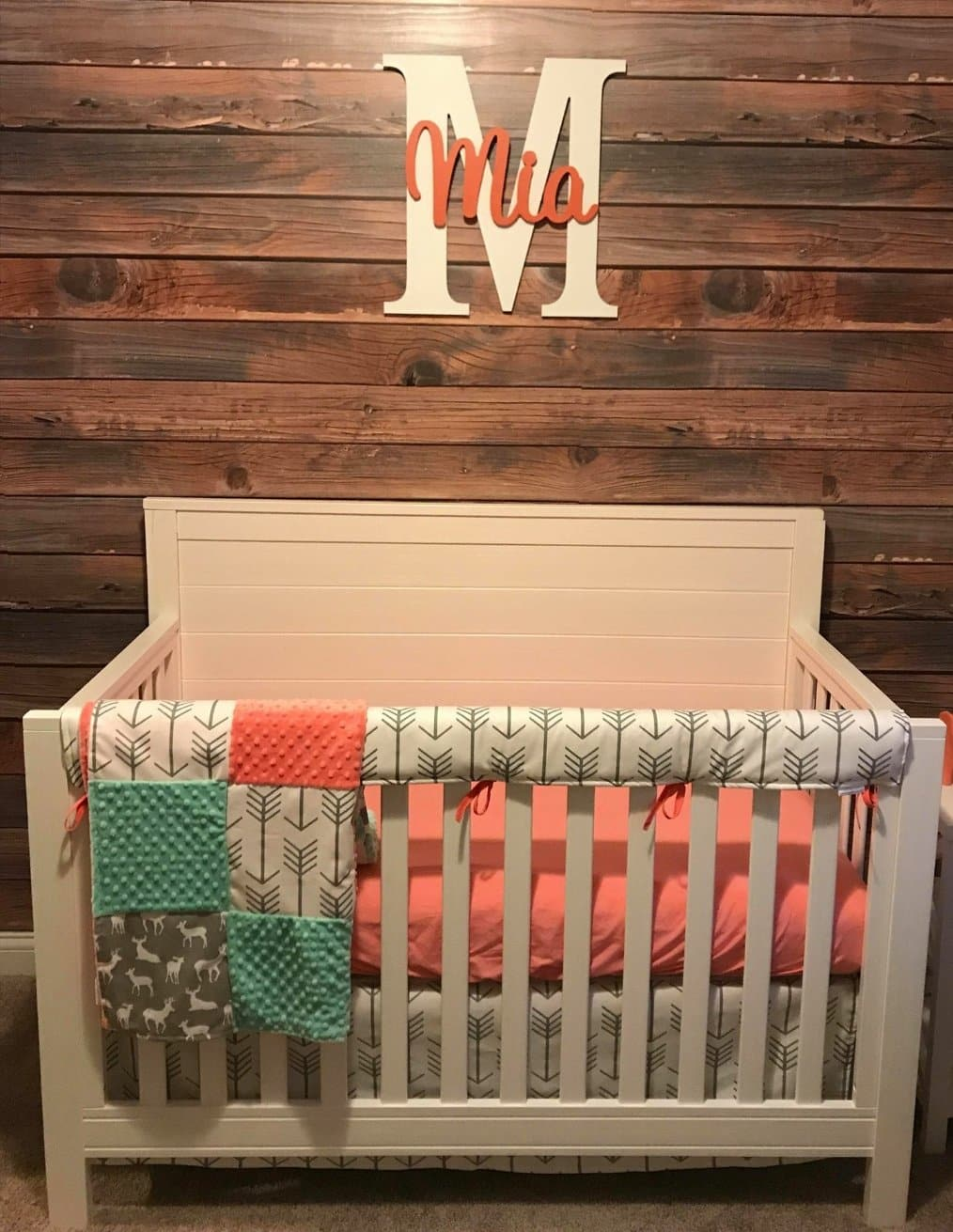Ready to Ship Girl Crib Bedding - White Gray Arrows, Gray Deer, Coral, and Mint Crib Bedding