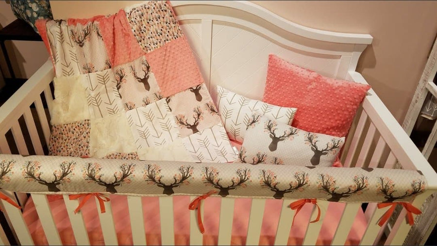 Ready to Ship Girl Crib Bedding - Tulip Fawn, Feathers, Ivory Crushed Minky, White Tan Arrow, Coral,  Fawn Crib Bedding