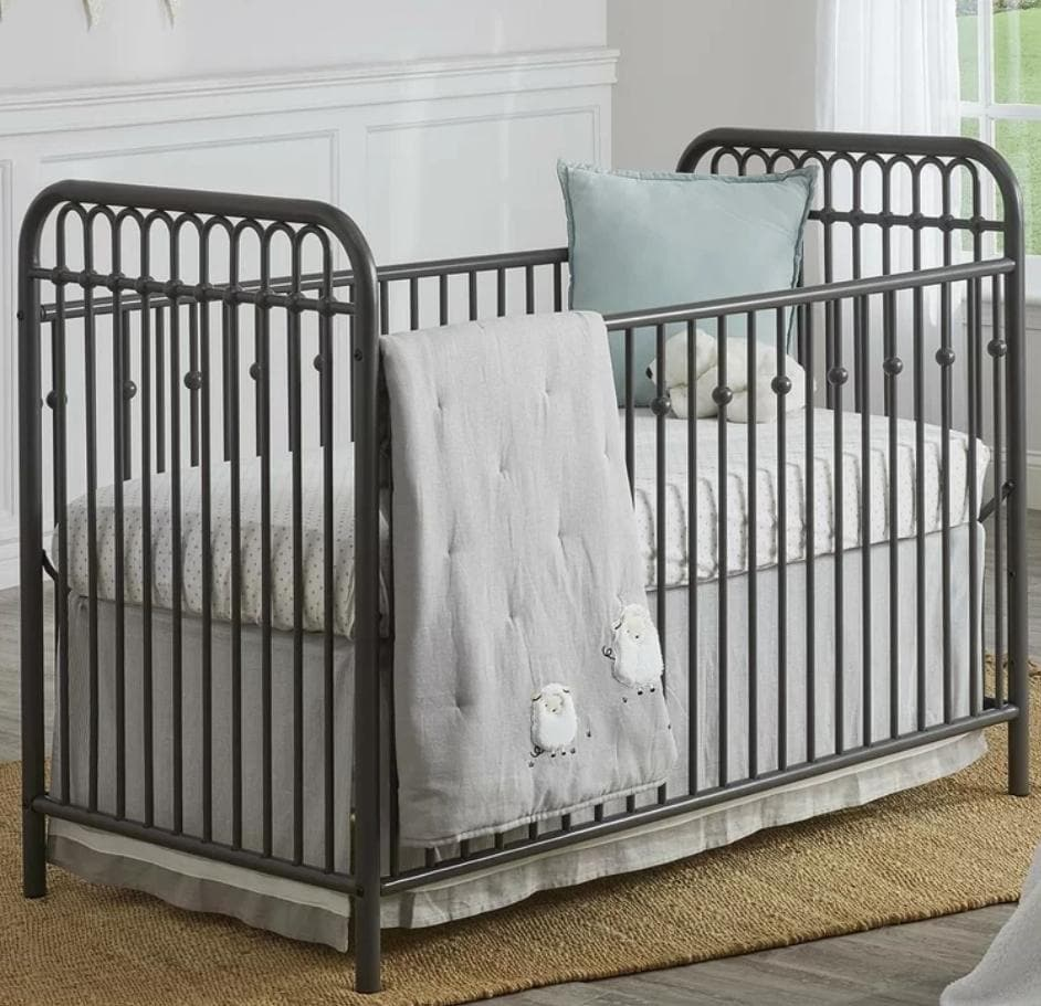 Standard Cribs - Metal Crib in Gray