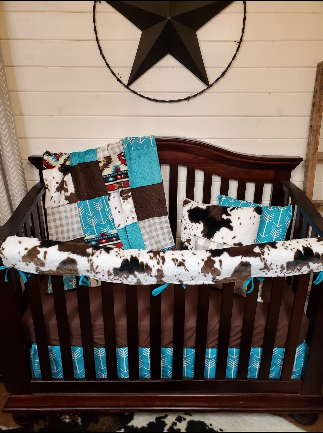 Stock Boy Crib Bedding- Aztec, Check, Cow Minky 4pc set