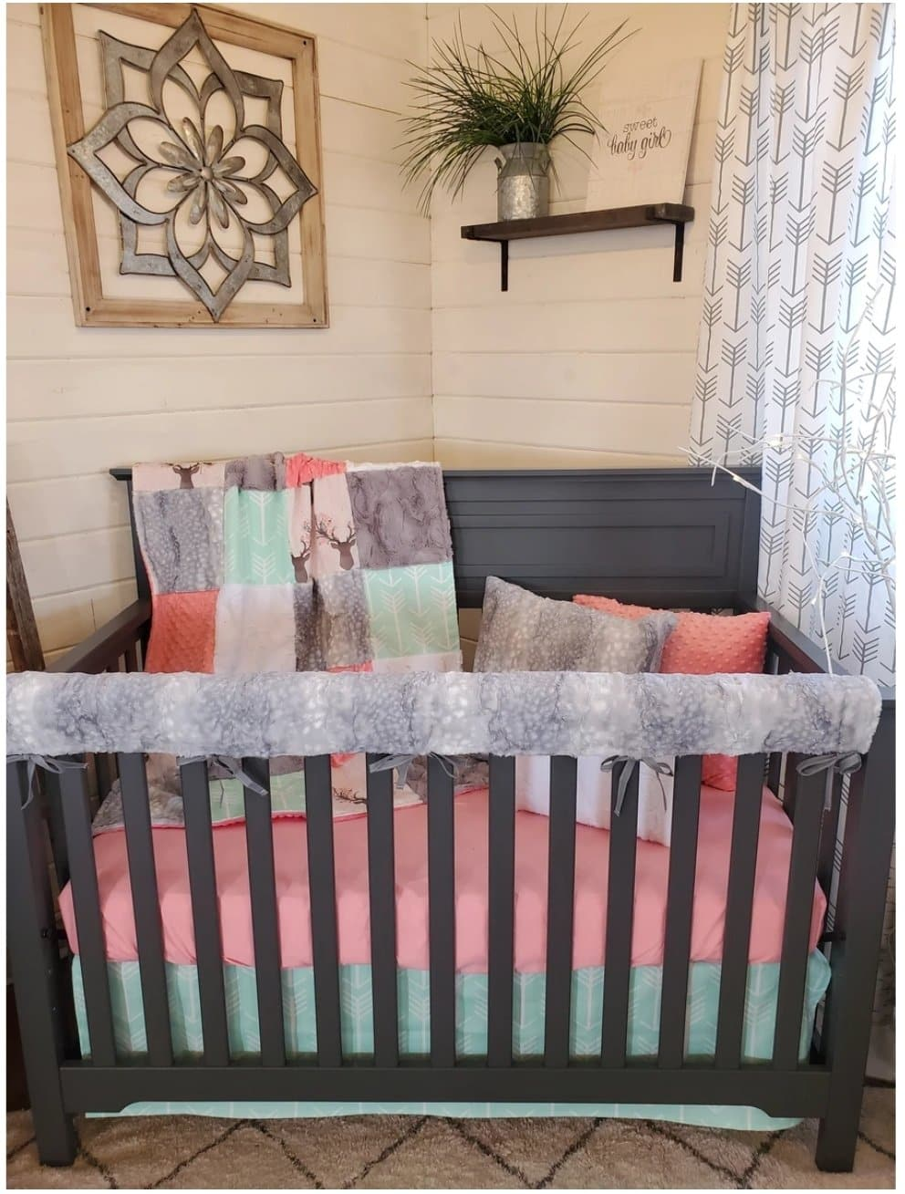 Flash Sale Girl Crib Bedding- Silver Fawn Minky and Fawn 4pc set