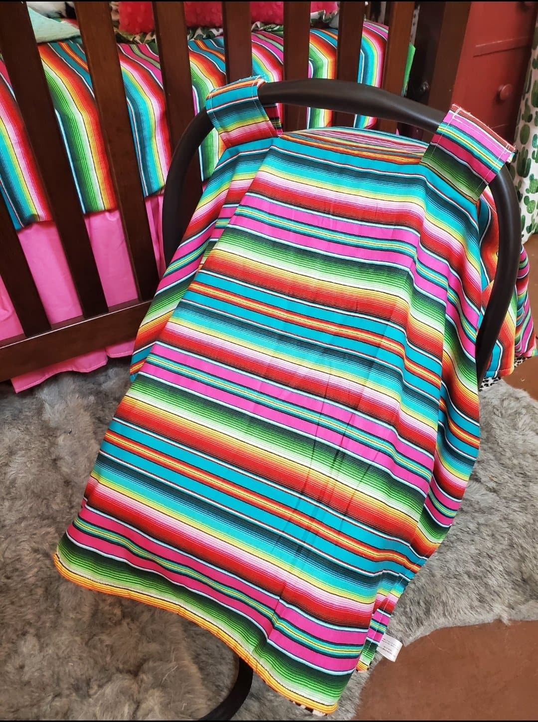Carseat Tent - Serape in pink