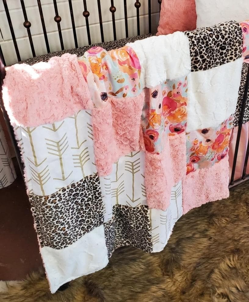Twin, Full, or Queen Patchwork Blanket - Floral and Cheetah Minky