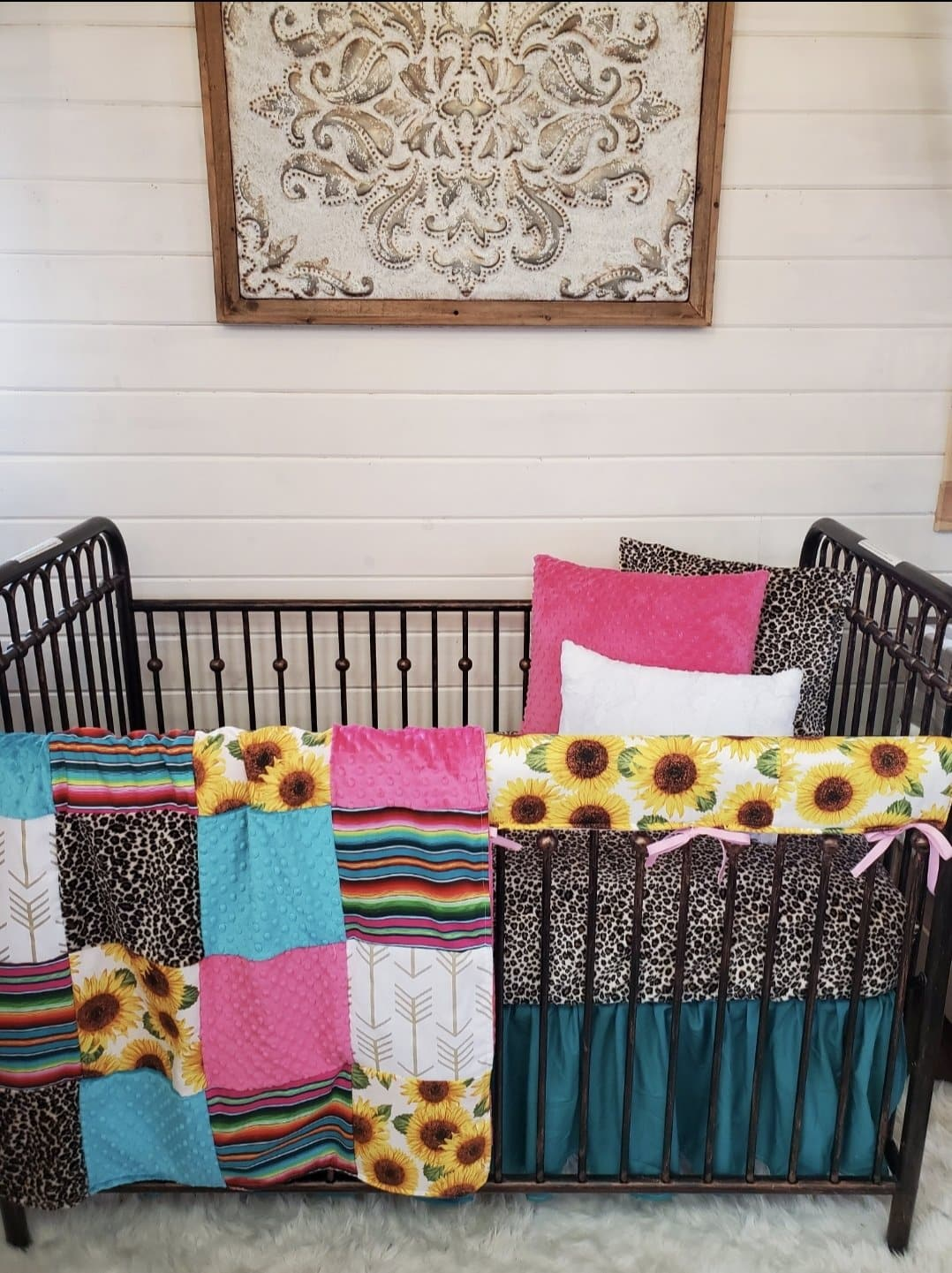 Stock Girl Crib Bedding- Serape, Cheetah, and Sunflower Collection