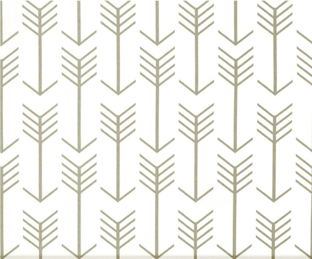 Curtain Panels or Valance - Arrow in White with Tan