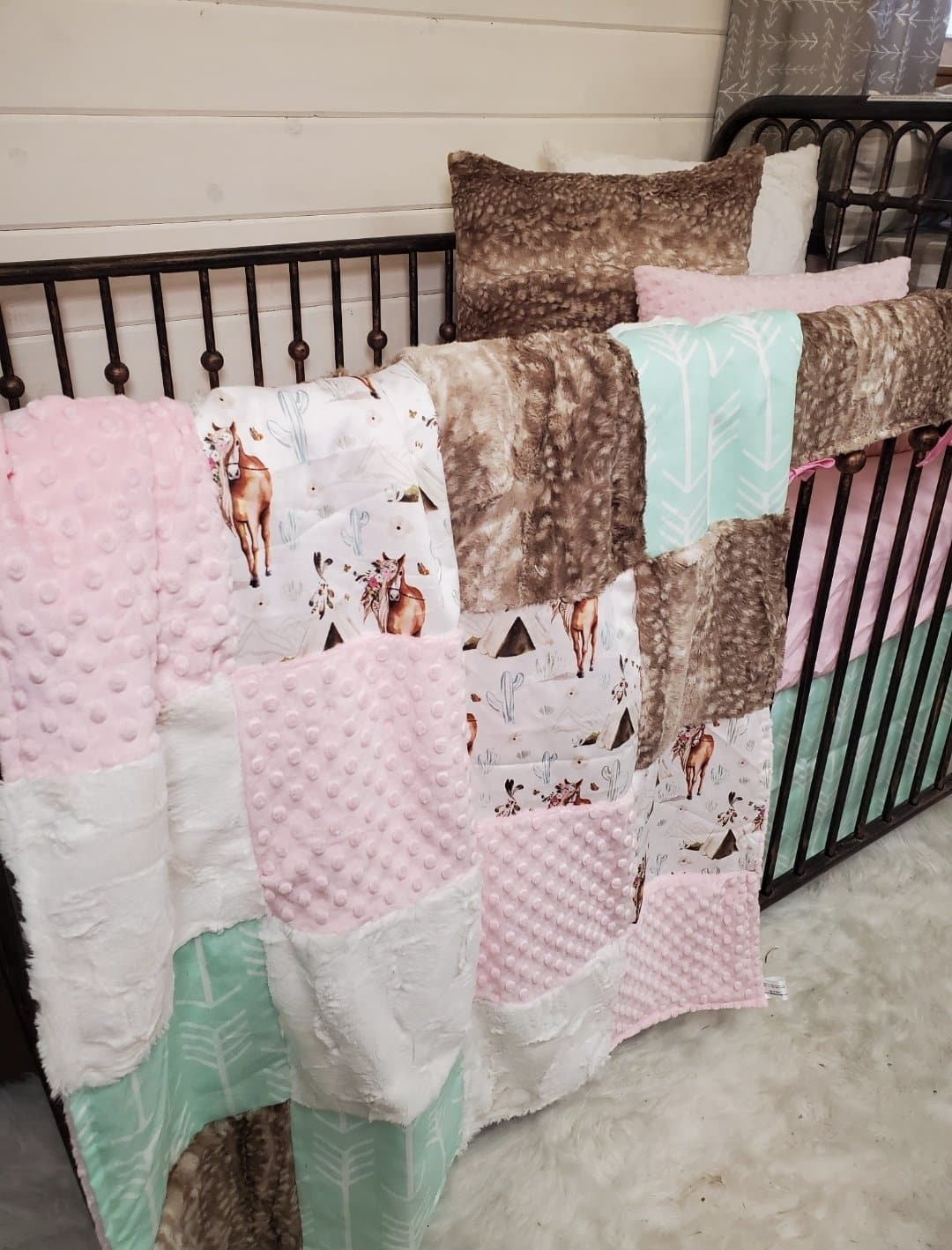 Twin, Full, or Queen Patchwork Blanket - Boho Horse and Fawn Minky