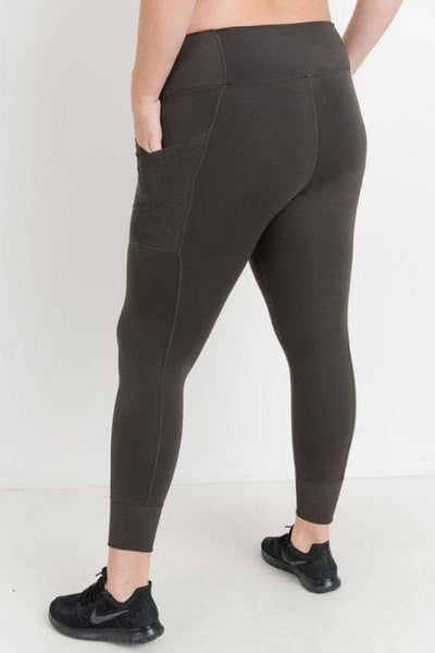 Plus Size Capri Leggings - Mesh in Brown