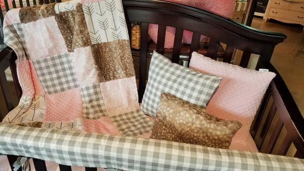 Quick Ship Girl Crib Bedding - Blush Damask, Gray Check, Fawn Minky, and Arrow, Damask Collection
