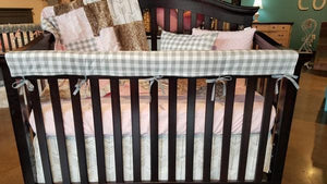 2 Day Ship Girl Crib Bedding - Blush Damask, Gray Check, Fawn Minky, and White Gray Arrows, Damask Crib Bedding
