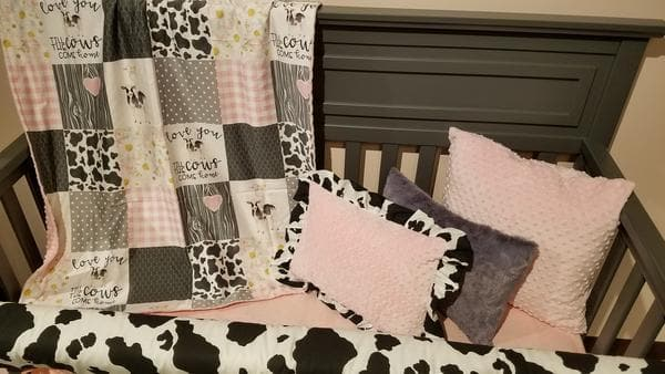 Custom Girl Crib Bedding - Cows Come Home in blush Farm Collection