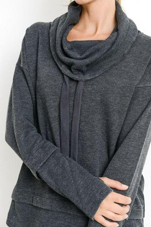 Cowl Neck Pullover - Mineral Wash Black