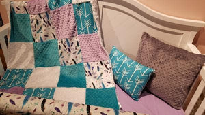 Custom Girl Crib Bedding - Feathers, Arrows, Lilac, and Teal, Boho Crib Bedding