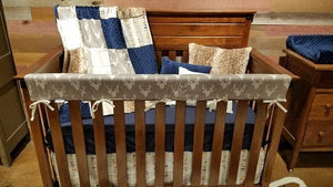 Ready to Ship Boy Crib Bedding - Gray Buck, Mixed Arrows, and Fawn Minky, Woodland Buck Collection