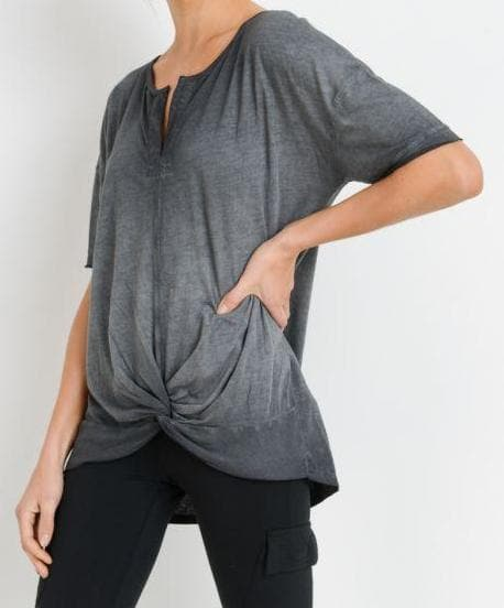 Henley Twist Knot Shirt - Gray