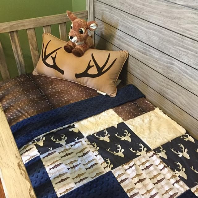 Blanket- Patchwork Blanket Navy Buck,  Deer Skin Minky, Trout, Ivory Crushed Minky, Navy Minky,