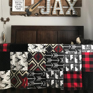 Custom Boy Crib Bedding - Bear, Buck, Black Arrow, Aztec, Red Black Check, Buck and Bear Nursery Set